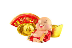 Smiling buddha with chinese gold ingots decoration Stock Images