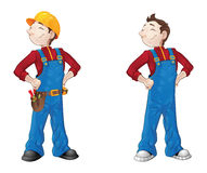 Smiling builder. In coveralls and helmet with tools vector illustration