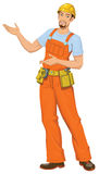 Smiling builder. Vector illustration of Smiling builder  pointing Royalty Free Stock Photography