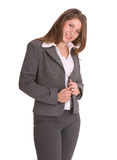 Smiling buisness woman. Smiling buisness woman in suit. Isolated Stock Images