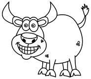 Smiling bull for coloring Royalty Free Stock Photos