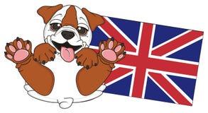 Smiling bulldog with flag Royalty Free Stock Photo