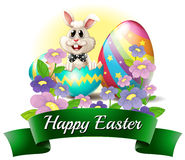 A smiling bunny with a happy Easter label Stock Photography