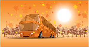 Smiling bus on the Autumn scene Royalty Free Stock Image
