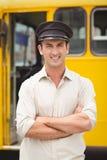 Smiling bus driver looking at camera Stock Image