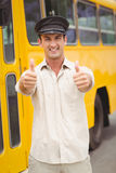 Smiling bus driver looking at camera Stock Images