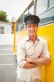 Smiling bus driver looking at camera Stock Photo