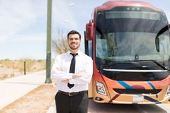 Smiling Bus Driver In Uniform royalty free stock photography