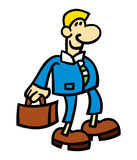 Smiling business cartoon man. Vector illustration of a smiling cartoon man wearing a blue suit and holding a briefcase Stock Photography