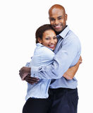 Smiling business couple hugging on white Royalty Free Stock Photos