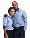 Smiling business couple on white background Royalty Free Stock Photos