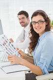 Smiling business coworkers with glasses Royalty Free Stock Photography