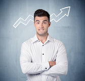 Smiling business guy with graph arrow Royalty Free Stock Images
