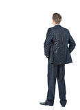 Smiling business man. Business man from the back - looking at something over a white background royalty free stock images