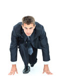 Smiling business man. Start your business - business man ready to start running over white Stock Photos