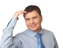 Smiling business man with hands resting head Stock Photography