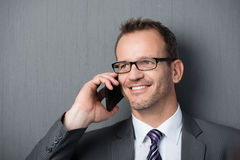 Smiling business man on the mobile phone Royalty Free Stock Image