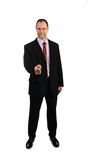 Smiling business man point a finger at you isolated on white Stock Photo