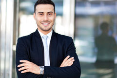 Smiling business man portrait outdoor Stock Photo