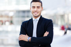 Smiling business man portrait outdoor Stock Photos
