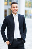 Smiling business man portrait outdoor Royalty Free Stock Image