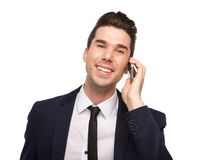 Smiling business man talking on mobile phone Stock Images