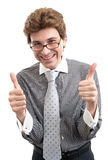 Smiling business man with thumbs up gesture. Smiling young business man with thumbs up gesture, isolated over white background royalty free stock photos