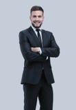 Smiling business man  on white Stock Photo
