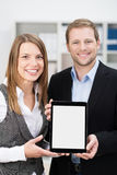 Smiling business partners making a presentation Stock Photo