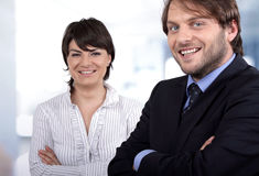 Smiling business people. Confident young people smiling contended Stock Images