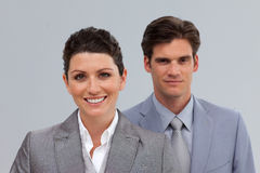 Smiling Business people in a line Stock Image