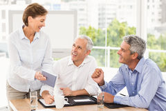 Smiling business people making an arrangement Stock Image