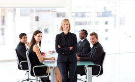 Smiling business people in a meeting Stock Photos