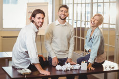 Smiling business people in meeting room Royalty Free Stock Images