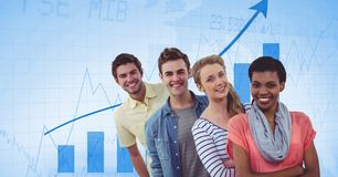 Smiling business people standing against graphs. Digital composite of Smiling business people standing against graphs Royalty Free Stock Image