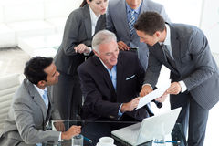 Smiling business people studying a document Royalty Free Stock Image