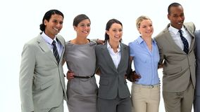 Smiling business people walking Stock Photo