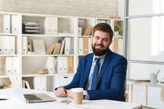 Smiling Business Person  at Desk in Office. Portrait of successful  bearded businessman smiling cheerfully  while working with laptop  in modern office Royalty Free Stock Photography