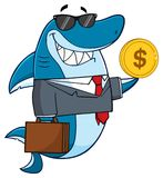 Smiling Business Shark Cartoon Mascot Character