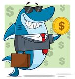 Smiling Business Shark Cartoon Mascot Character In Suit, Carrying A Briefcase And Holding A Golden Dollar Coin. Illustration With Green Background With Dollar Royalty Free Stock Photos
