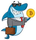 Smiling Business Shark Cartoon Mascot Character In Suit, Carrying A Briefcase And Holding A Golden Dollar Coin. Illustration Isolated On White Background Royalty Free Stock Photos