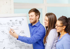 Smiling business team discussing plan in office Stock Image