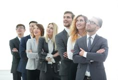 Smiling business team looking up. The concept of perspectives Royalty Free Stock Image