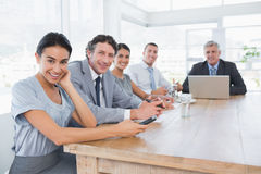 Smiling business team on a meeting Royalty Free Stock Images