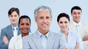 Smiling business team showing ethnic diversity