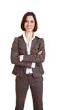 Smiling business woman with arms Royalty Free Stock Image
