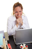 Smiling business woman behind her Royalty Free Stock Photo