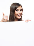 Smiling business woman with big blank board Royalty Free Stock Images