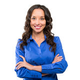Smiling business woman blue suit dressed standing against white Royalty Free Stock Photos