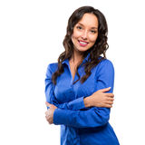 Smiling business woman blue suit dressed standing against white Royalty Free Stock Photo